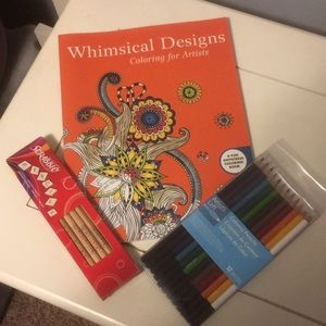 Other - NEW! Adult coloring book and pencils